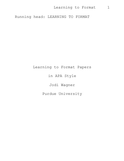 Every APA paper has a cover page that looks like the following and ...